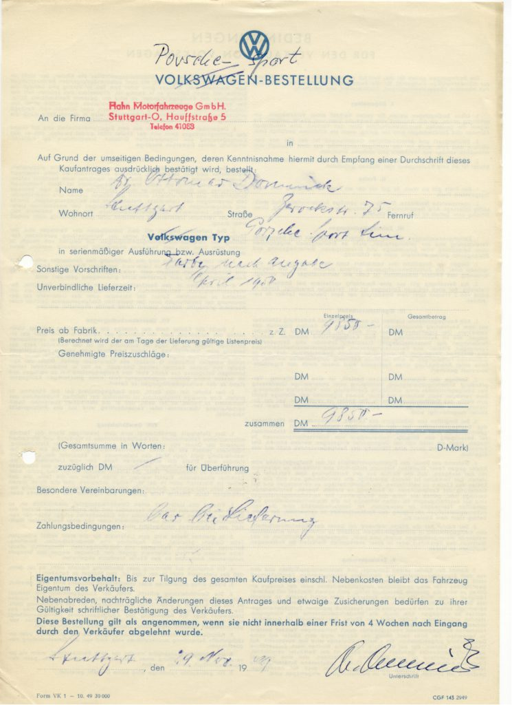 oryginalny formularz zamówienia nr 5001 dr. Ottomara Domnicka fot. archiwum Fundacji Domnicka